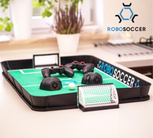 Robosoccer startup. Picture shows the innovation soccer game, mobile remote robots that allows play football.